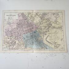 c1889 Edinburgh British Isles Map Bacon Antique Vgc
