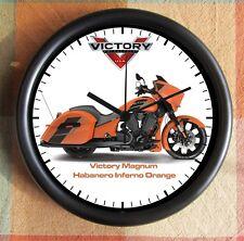 VICTORY MOTORCYCLE MAGNUM  Habanero Inferno Orange 10 inch Resin Wall Clock