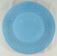 """Libbey Blue Snowflake 10.5"""" Dinner Plate Dish Light Winter Holiday Christmas"""