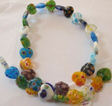 "14"" STRAND 12MM X 12MM X 3.5MM HANDMADE MILLEFIORI GLASS MIXED COLOUR HEART BEAD"