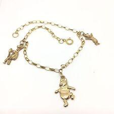 "Vintage 9ct Gold C.1980 ""Winnie the Pooh"" Belcher Charm Bracelet 7 inches"