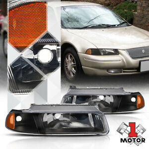 Black Housing Headlight Amber Signal Reflector for 95-00 Cirrus/Stratus/Breeze