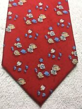 PAUL FREDRICK MENS TIE RED WITH BLUE AND BEIGE FISH 3.75 X 59