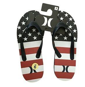 Hurley Men's Red White Blue American Flag Size 9 Flip Flops Sandals