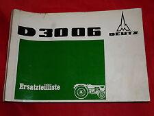 DEUTZ D 3006 remorqueur Pièce De Rechange Liste z1002-1 de 1968