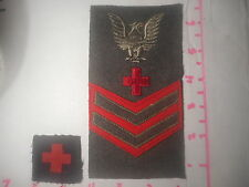 USMC With  Navy Medic Red Cross Wool Vintage Patch B-2.