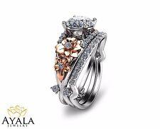 Two Tone Diamond Engagement Ring Set-Unique Bridal Set-Floral Engagement Rings