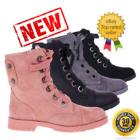 NEW WOMENS AUTUMN LADIES FLAT BIKER LACE UP ZIP LOW HEEL ANKLE BOOTS SHOES SIZE