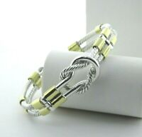 """Twisted Knot Two Tone Bracelet Bangle in Sterling Silver 6.75"""" #24"""