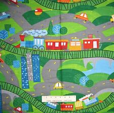 Kids Fabric - On the Go City Map Allover Green - Wilmington YARD