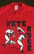 Vintage Mens M 1985 Pete Rose Cincinnati Reds MLB Baseball Graphic Red T-Shirt