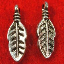20Pcs. Tibetan Silver Indian Bird FEATHERS Charms Earring Drops Findings W06