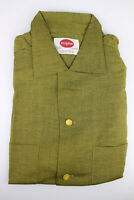 Vintage Mens Shirt 50s Pilgrim Sears Green Rayon Atomic Rockabilly M Deadstock