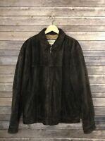 Eddie Bauer Men's Manheim Auto Auctions  Brown Suede Leather Coat Jacket Sz L
