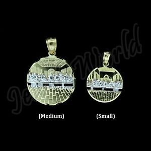 10K Yellow Gold Diamond Cut Round Jesus Last Supper Charm Pendant - 2 Sizes