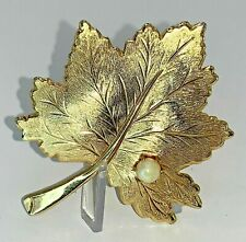 Vintage gold tone Maple leaf brooch signed D\u2019Orlan 9247  1.5 inches