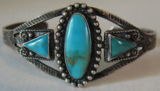 VINTAGE FRED HARVEY NAVAJO INDIAN SILVER TURQUOISE TRIANGLES CUFF BRACELET
