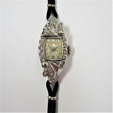 Art Deco Hamilton Damenarmbanduhr aus Weißgold 14K mit Diamanten - 37