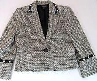 BEBE Womens Cotton Blend Blazer White Black Jacket $149 SIZE 6