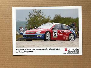 2003 Citroen Xsara WRC Press Photograph - Colin McRae, Rally German