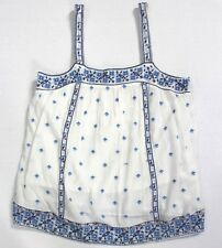 Joie Magali Porcelain White Blue Sleeveless Embroidered Cotton Tank Top L NWT