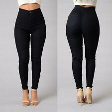 Women Pencil Stretch Casual Look Denim Skinny Jeans Pants High Waist Trousers ZY