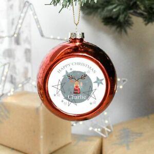 Personalised Reindeer Christmas Bauble Festive Tree Decoration Ornament