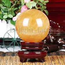 40mm Yellow Citrine Calcite Quartz Crystal Sphere Ball Healing Gemstone Decor
