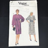 Vintage Vogue Sewing Pattern 8798 Size 14 Long Blouse Dress Collared Knee Length