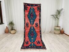 """Moroccan Vintage Handmade Runner 3'1""""x8'3"""" Berber Geometric Red Blue Wool Carpet"""