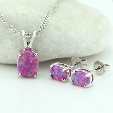 New Arrival Pink Fire Opal Silver Plated Stud Earrings Pendant Jewelry Sets OPE7