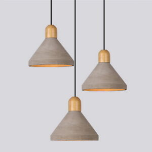 Modern Wood Concrete Cement Cone Shade Hanging Ceiling Pendant Light Kitchen Bar