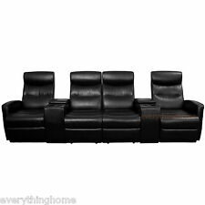 BLACK LEATHER-SOFT 4-SEAT HOME THEATER RECLINERS LOVE SEAT STORAGE DRINK CONSOLE