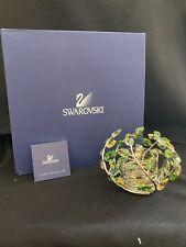 Swarovski Crystal Leaf Candleholder Green And Yellow Original Box W/ Coa