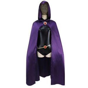 Teen Titans Raven Cosplay Costume Halloween Jumpsuit Purple Cloak for Women