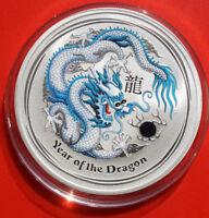 """Australien 1 Dollar 2012 Silber 1 Oz  #F2506 Year of the Dragon """"Hellblau"""""""