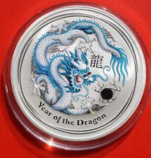 """Australien 1 Dollar 2012 Silber 1 Oz  Year of the Dragon """"Hellblau"""" #F 2506"""