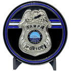 EL2-016 Tampa Florida Police Office Challenge Coin Tampa Bay Thin Blue Line Back