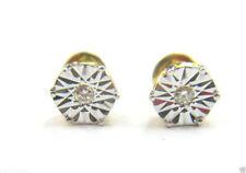 2 pcs / 0.08cts White Round Diamond Fancy Earring 14K Yellow Gold @Free Shipping