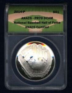 2014-P  BASEBALL HALL OF FAME SILVER DOLLAR, PROOF, CERTIFIED ANACS PR70