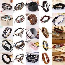 Vinatge Punk Mens Leather Surfer Braided Wristband Multilayer Handmade Bracelets