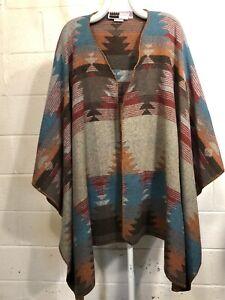 Rhonda Stark South West Indian Blanket Cape Wrap Wool Blend