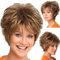 Women Vogue Short Wavy Curly Wigs Fashion Ombre Brown Light Blonde Pixie Wig