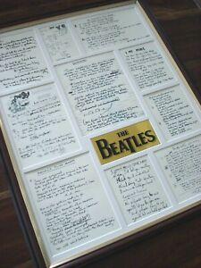 THE BEATLES ORIGINAL HANDWRITTEN LYRICS FRAMED DISPLAY MONTAGE VERSION #1