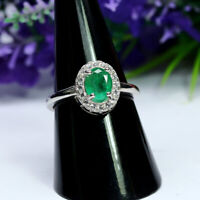 NATURAL 6 X 7 mm. OVAL GREEN EMERALD & WHITE CZ RING 925 STERLING SILVER SZ 7