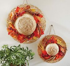 NEW Fall Thanksgiving Sale Decorations Hanging Wall Leaves Berries Straw Hat Set