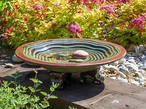 Wildlife World Echo Bird Bath Outdoor Fired Ceramic Garden Water Birdbath Feeder