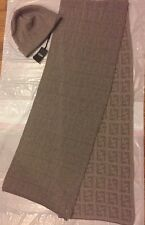 LAST ONE Fendi Roma Avorio Logo 100% Wool Hat + Scarf Set 2-PC Made in Italy NWT
