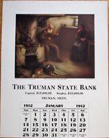 Truman, MN 1912 Advertising Calendar: State Bank w/Dobson/Artist-Signed Print