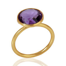 Natural Amethyst Gemstone Ring 925 Silver Gold Plated Womens Ring Jewelry